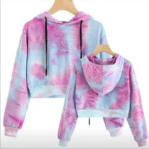Tie dye hooded crop top sweatshirt  NWT